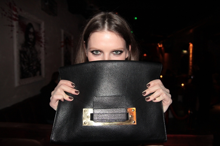 Natalie Frost with Sophie Hulme bag