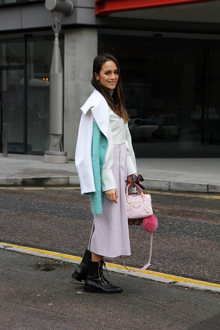 Anna Vitiello pastel layering and pink Balenciaga bag